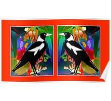 Stained Glass Magpies Poster