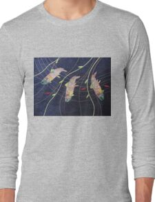 Three Fish Swaying. Print of Embroidered Textile by Jackie Wills Long Sleeve T-Shirt