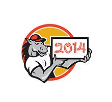 Year of Horse 2014 Showing Sign Cartoon by patrimonio