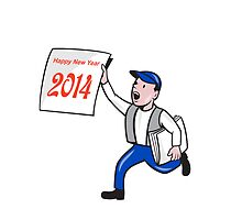 New Year 2014 Newspaper Boy Showing Sign Cartoon by patrimonio