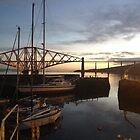 Forth Rail Bridge and Queensferry Harbour. November dawn.  by LBMcNicoll