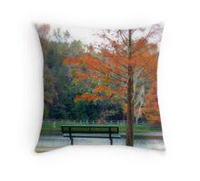 Autumn bench and lake Throw Pillow
