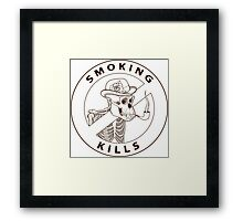 black and white no-smoking sing with gorilla's skeleton smoking pipe Framed Print