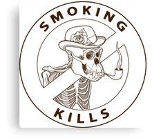 black and white no-smoking sing with gorilla's skeleton smoking pipe Canvas Print