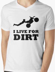 I LIVE FOR DIRT MOTOCROSS CRAZY SUPERMAN FREESTYLE Mens V-Neck T-Shirt