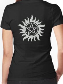 Supernatural Pentagram Women's Fitted V-Neck T-Shirt