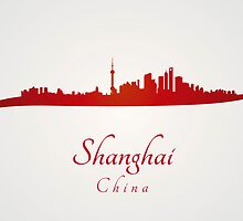 Shanghai skyline in red by Pablo Romero