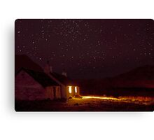 Stargazing at Black Rock Cottage, Glencoe, Scotland Canvas Print