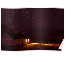 Stargazing at Black Rock Cottage, Glencoe, Scotland Poster