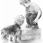 Ready boy & dog drawing by Mike Theuer