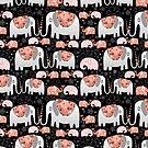 Pattern of elephants in love by Tanor