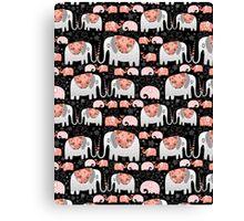 Pattern of elephants in love Canvas Print