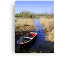 Lake wit boat Canvas Print