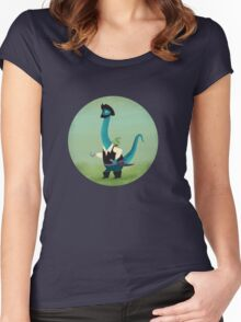Captain Salty the pirate dinosaur Women's Fitted Scoop T-Shirt