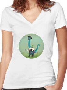 Captain Salty the pirate dinosaur Women's Fitted V-Neck T-Shirt
