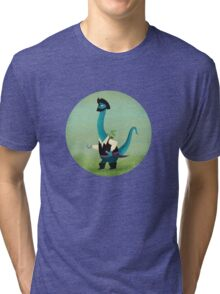 Captain Salty the pirate dinosaur Tri-blend T-Shirt