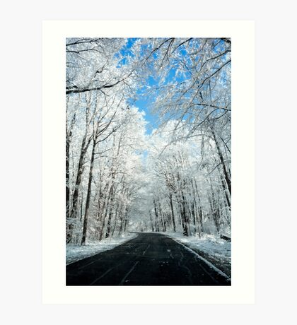 Snowy Winter Road Scene Art Print