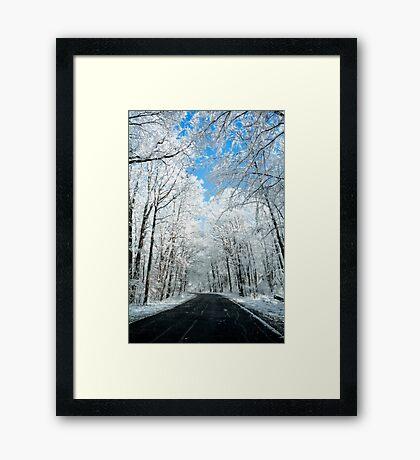 Snowy Winter Road Scene Framed Print