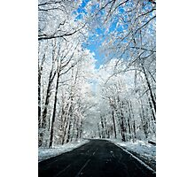 Snowy Winter Road Scene Photographic Print