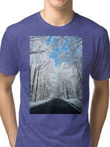 Snowy Winter Road Scene Tri-blend T-Shirt