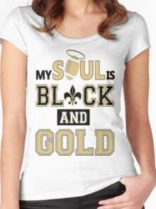 SAINTS - MY SOUL IS BLACK AND GOLD Women's Fitted Scoop T-Shirt