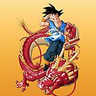 Son Goku on a dragon (DBZ) by 23mgab