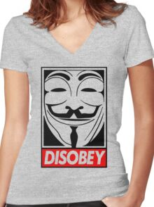 Dis-obey Women's Fitted V-Neck T-Shirt