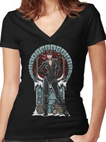 Crime Pays Women's Fitted V-Neck T-Shirt