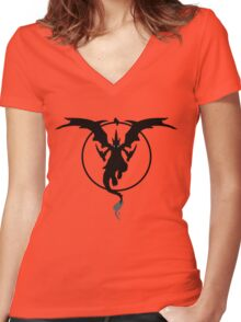 MEGA FIRE RED Women's Fitted V-Neck T-Shirt