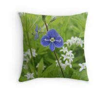 Blue majestic flower Throw Pillow