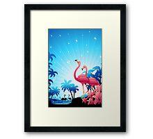 Pink Flamingos on Blue Tropical Landscape Framed Print