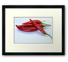 Red hot spicy peppers for you Framed Print