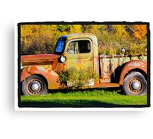 Antique rusted truck in Bradley Maine Canvas Print
