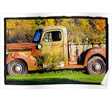 Antique rusted truck in Bradley Maine Poster