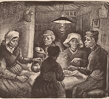 Vincent Van Gogh - The potato eaters 1885 (sketch) by famousartworks