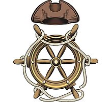 Steering Wheel and Sailor Hat Photographic Print