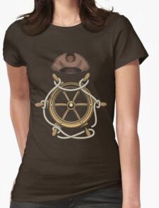 Steering Wheel and Sailor Hat Womens Fitted T-Shirt