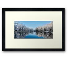 Snowy Winter Tree Lake Reflections Framed Print