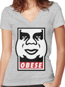OBESE Women's Fitted V-Neck T-Shirt