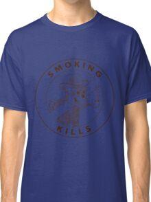 black and white no-smoking sing with gorilla's skeleton smoking pipe Classic T-Shirt