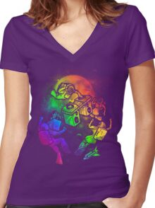 Space Disco Women's Fitted V-Neck T-Shirt