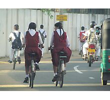 Cyclists, Batticaloa, Sri Lanka Photographic Print