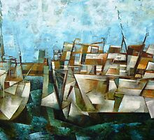 Boats at wharf by D.M Ross