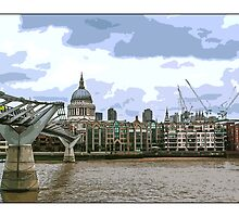 View of St Paul's Cathedral over Millennium Bridge by Tim Constable by Tim Constable
