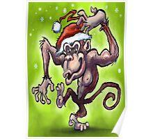 Christmas Monkey Poster
