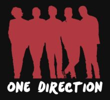 One Direction Red Silhouette & Logo (white) by cbazoe