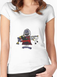 Funny Cool Abominable Snowman Playing the Bagpipes Women's Fitted Scoop T-Shirt