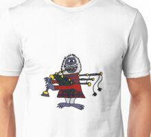Funny Cool Abominable Snowman Playing the Bagpipes Unisex T-Shirt