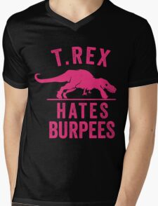 T Rex Hates Burpees Mens V-Neck T-Shirt