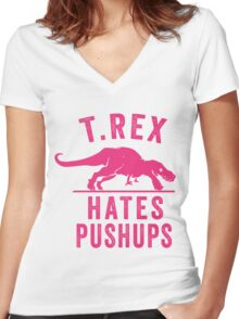 T Rex Hates Pushups Women's Fitted V-Neck T-Shirt